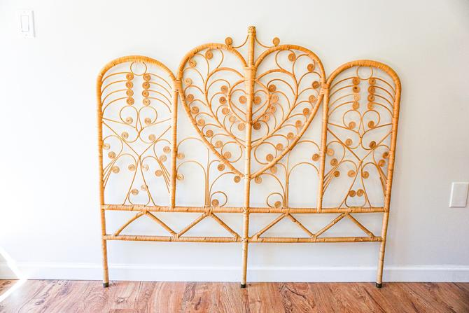 Vintage Bohemian Woven Queen/Double bed frame by PortlandRevibe