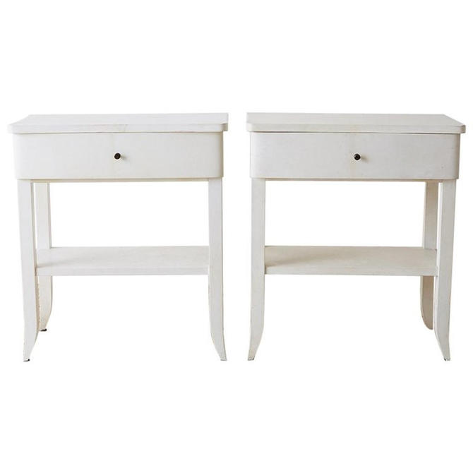 Pair of Modern Goatskin Parchment Nightstands or Tables by ErinLaneEstate