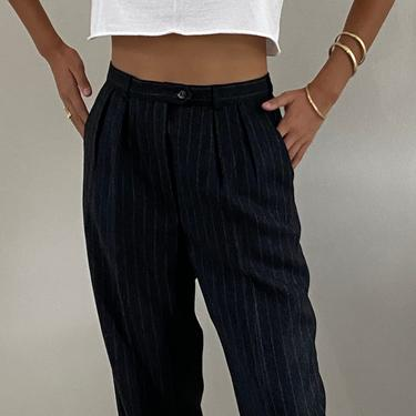 90s Giorgio Sant Angelo pinstripe pleated wool pants / vintage Annie Hall charcoal gray chalk pin stripe high waisted wool pants | 28 W Med by RecapVintageStudio