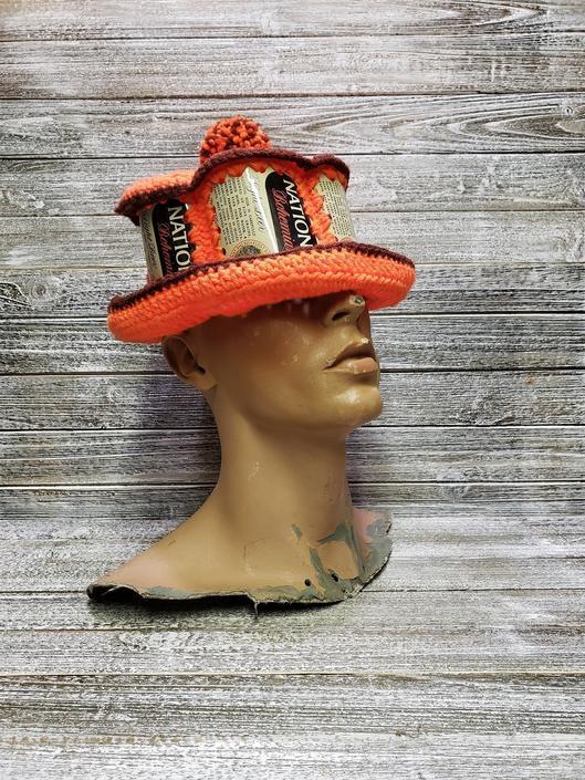 Vintage Natty Boh Beer Can Hat, Baltimore Beer, 1970s National Bohemian Beer Bucket Hat, Mr Boh, Crochet Floppy Beer Hat, Vintage Clothing by AGoGoVintage