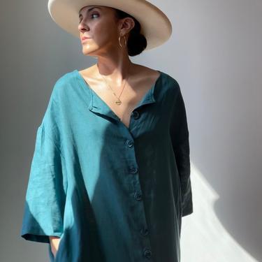 Vintage Linen Teal Market Dress by ShopLaTierra