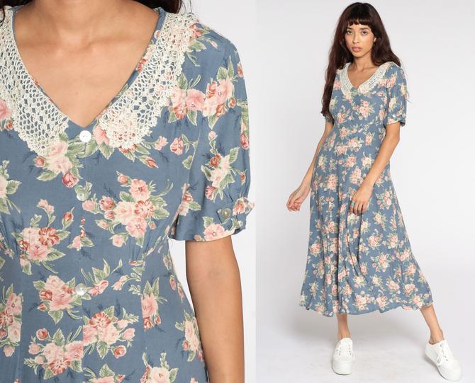 Blue Floral Dress Midi Grunge Granny Crochet Lace Collar Button Up Dress Boho 90s Bohemian 1990s Short Sleeve Vintage Garden Party Medium by ShopExile