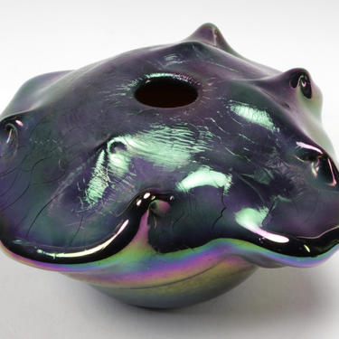 Vtg Mid Century Modern Robert C. Fritz Studio Art Glass Vase Freeform Iridescent by HouseofVintageOnline