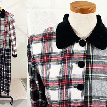 True Vintage Lanz Originals Plaid Dress Tartan Red Midi Maxi Retro Black Velvet Collar Cuffs Medium Large Cute Kitsch Kawaii Schoolgirl by CheckEngineVintage