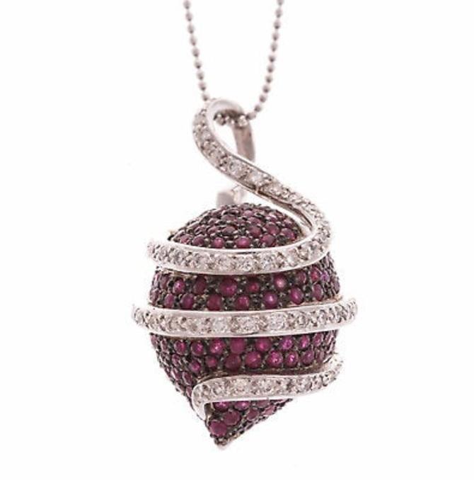 Vintage 18K white gold diamond rubies designer necklace pendant by LazyCamel