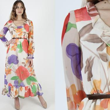 Vintage 70s Bright Floral Chiffon Maxi Dress Colorful Garden Ruffle Collar Dress Long Sleeve Watercolor Print Lined Art Print Long Dress by americanarchive