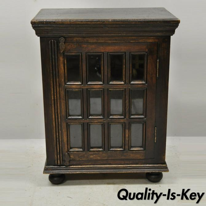 Vintage British Colonial Style Small One Door Wooden Curio Display Cabinet