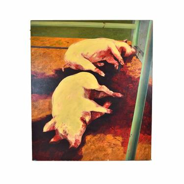 Monumental Pigs Slaughtered Laying in Blood Oil Painting by Bill Iles by PrairielandArt