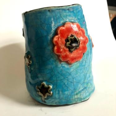 """Hand built ceramic blue turquoise crackle vase with red/orange and silver floral. 5.5"""" H x 4.5"""" W by MadCoolNYC"""
