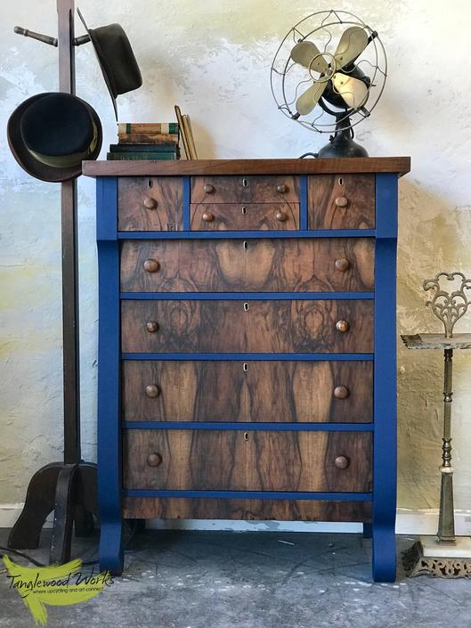 Handsome Walnut Burl Dresser with Hints of  Deep Blue