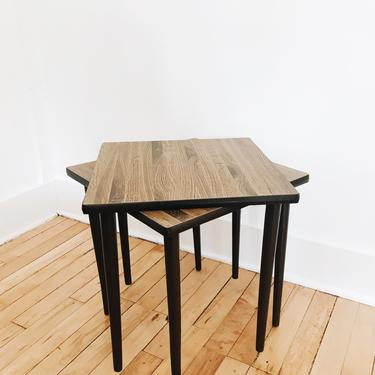 SET OF TWO <BR> STACKABLE END TABLES