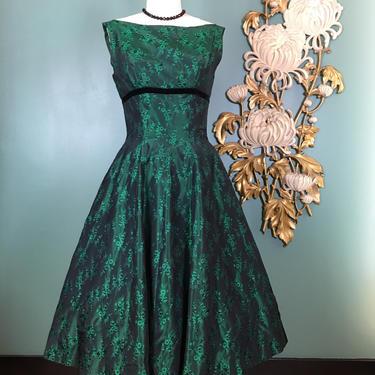 1950s brocade dress, vintage 50s dress, full skirt dress, emerald green dress, size small, shelf bust, 27 waist, holiday dress, mrs maisel by BlackLabelVintageWA