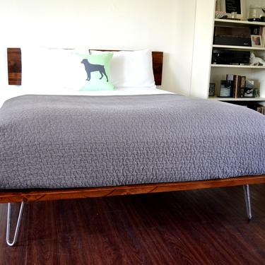 RESERVED FOR ANTHONY G Platform Bed and Headboard on Hairpin Legs | Queen Size Bed | Wood Bed | Mid Century Inspired | Minimal Design | by CasanovaHome