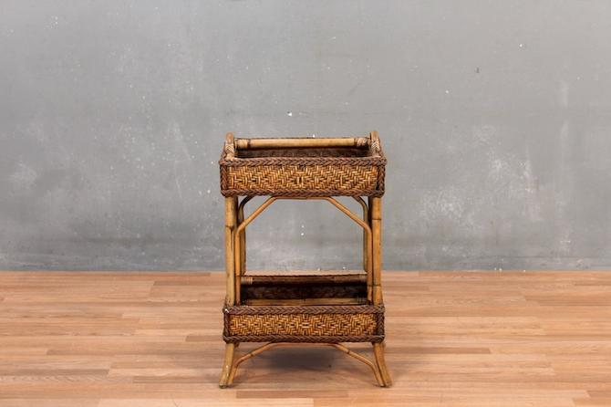 Bamboo & Rattan 2-Tier Side Table