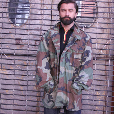 Oversized Military Camo Jacket | Cammo  XL | Field Jacket | Brown Camo | Oversized | Standard Issue  | 100 % Cotton | Quarter Length | by HamletsVintage