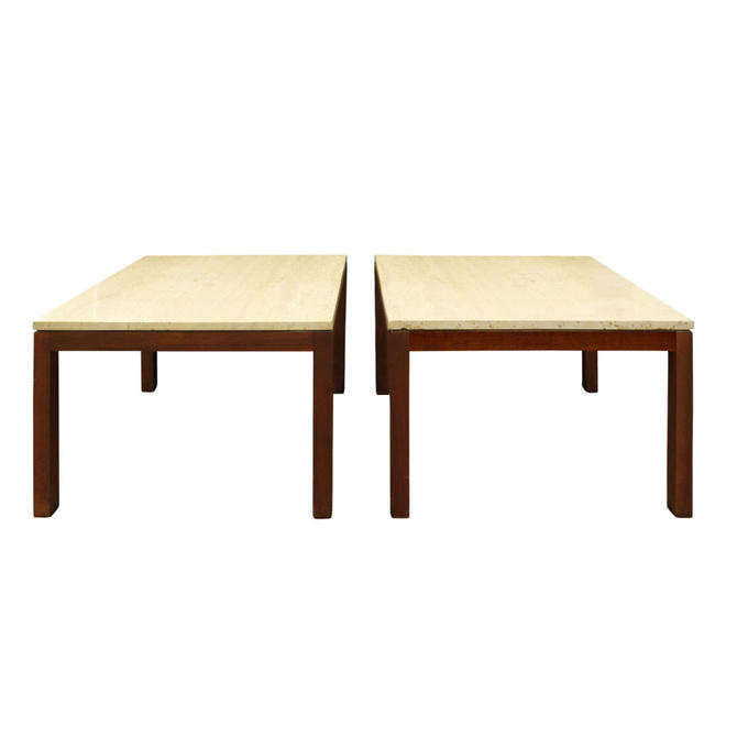 Pair of Clean Line End Tables in Teak and Travertine 1970s