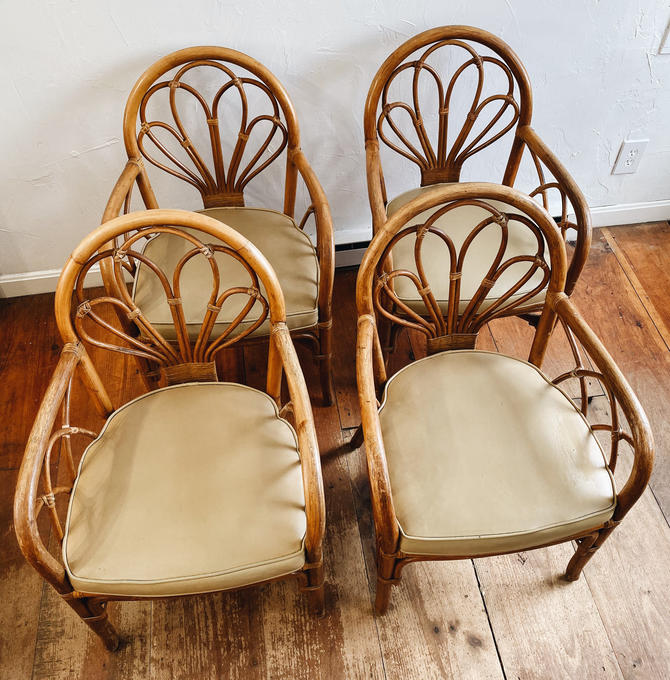 Rattan Vinyl Dining Chair, Rattan Accent Chair, Rattan Arm Chair by VintageandSwoon