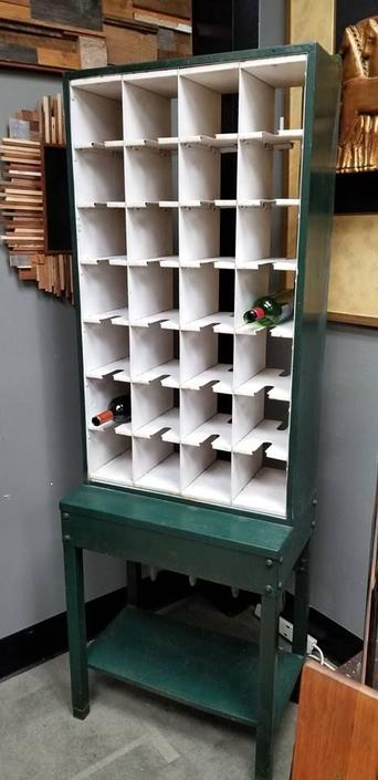 Vintage Industrial metal mail sorting station labeled Property of U.S. Post Office
