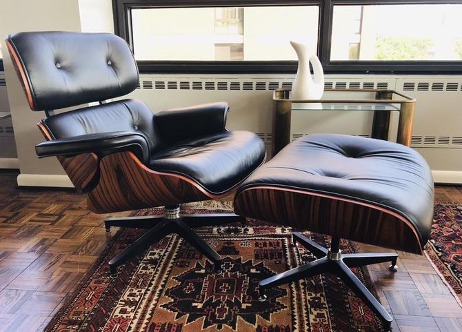 Modern Mid Century  Eames Replica Black Leather Lounge Chair & Ottoman by UrbanInteriorsBalt