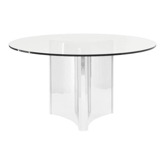 Abbot Round Glass & Chrome Table