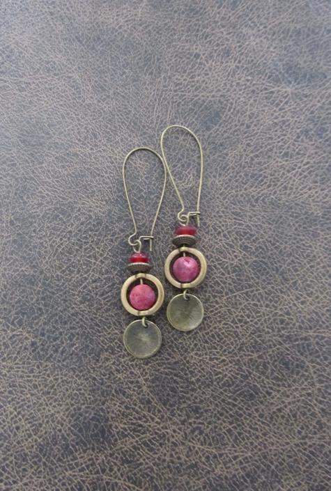 Red agate earrings, bronze modern earrings, unique ethnic earrings, mid century, minimalist geometric earrings, boho chic earrings by Afrocasian