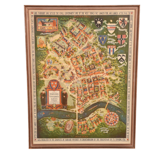 Vintage Harvard University Artist's Campus Map