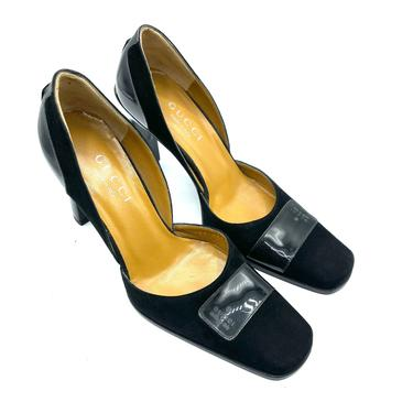 Gucci Tom Ford Era early 2000s Black Suede Square Toe Pumps