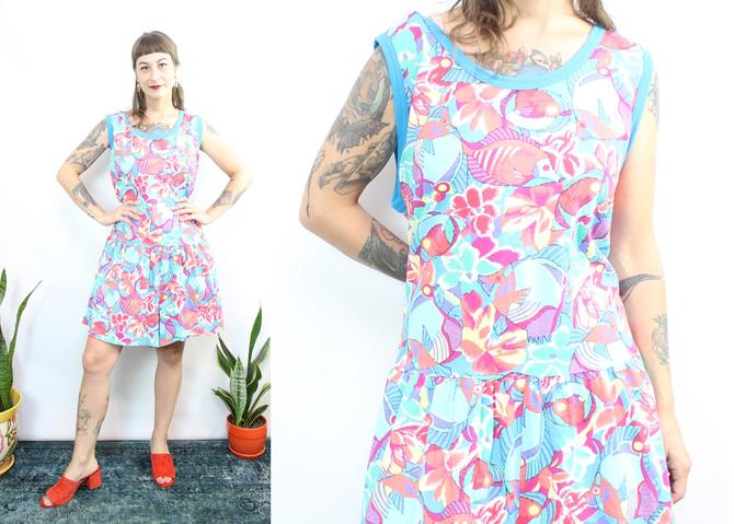 Vintage 80's Fish Romper / 1980's Tropical Fish Romper / Women's Plus Size 1X by RubyThreadsVintage