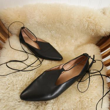 seychelles ankle tie black flats - size 8 8.5 9 by foganddriftwood