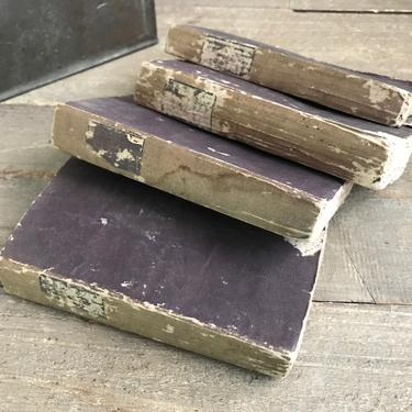 1820s French Frothy Book Props, Set of 4, Paris, Faded Purple, Paper Covers, Early 19th C, Book Stacking Props by JansVintageStuff