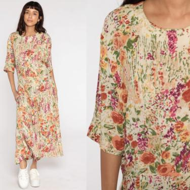 Pleated Floral Dress 90s Maxi Watercolor Drop Waist Grunge Dress Ankle Length Bohemian 80s Short Sleeve Vintage Large 12 by ShopExile