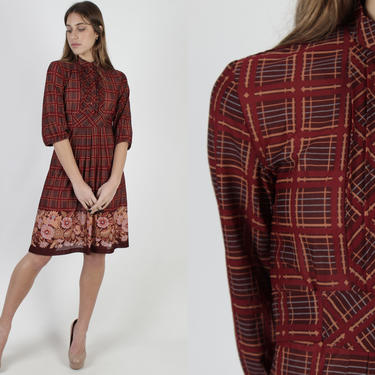 Sheer Burgundy Plaid Dress / Vintage 70s Checkered Maroon Floral Dress / Pleated Sheer Disco Cocktail Party Mini Dress by americanarchive