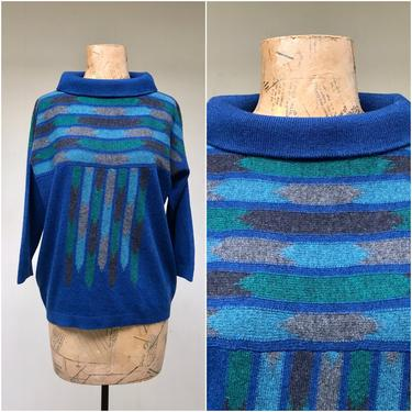 """Vintage 1960s Bonnie Cashin Cashmere Sweater for Ballantyne, Blue Geometric Widened Turtleneck Pullover, Medium 38"""" Bust by RanchQueenVintage"""