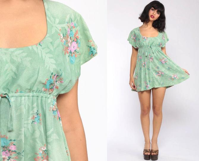 708b1c6ec48 Boho Dress 70s Mini Babydoll Mod Green Floral Print Dress 1970s Vintage  Bohemian Hippie Flutter Sleeve Summer Minidress Festival Small by ShopExile