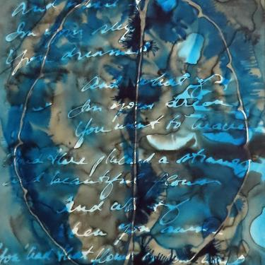 What If You Slept : Original ink painting on yupo of brain scan - neuroscience art poetry Coleridge by artologica