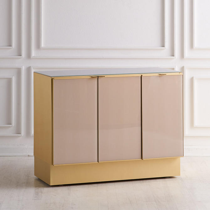 Modern Ello Brushed Brass & Glass Top Credenza