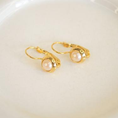 small pearl gold earring, gold pearl vintage earring, round dome pearl earring, gold pearl vintage earring, pearl gold earring, gift for her by melangeblancdesigns