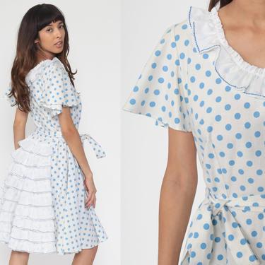 60s Day Dress Ruffle Dress Polka Dot Dress White 1960s Mad Men Knee Length Collared Short Sleeve Full Skirt High Waist Small Medium by ShopExile