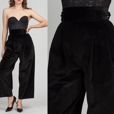 "70s Black Velvet High Waist Wide Leg Pants - Small, 27"" | Vintage Boho Straight Leg Pleated Trousers by FlyingAppleVintage"