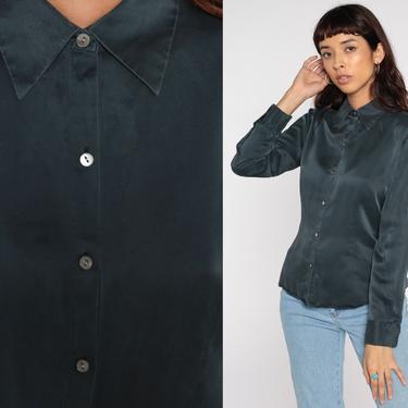 Grey Silk Shirt Button Up Shirt Y2K Long Sleeve Blouse 00s Shirt Vintage Retro Plain Top Medium by ShopExile