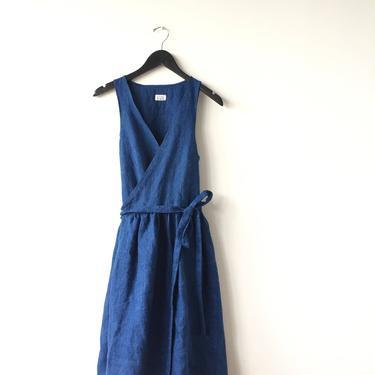 Linen Wrap Sleeveless Dress/ Made to Order Dress/ Custom Size Indigo Dress/ Indigo Blue handmade Dress/ Tailored wrap linen dress by vaniageneralstore