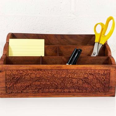 Vintage Carved Wooden Desk Organizer Letter Holder Wood Dark Brown Boho Retro Storage Mail Container Office Crafts by CheckEngineVintage