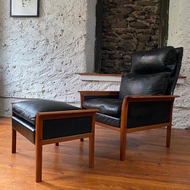 Mid century lounge chair Otto Hans Olsen teak lounge chair Danish modern lounge chair and ottoman by VintaDelphia