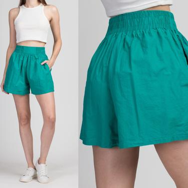 80s Teal Elastic Waist Cotton Shorts - Small   Vintage Honors Sport Retro Athletic High Rise Shorts by FlyingAppleVintage