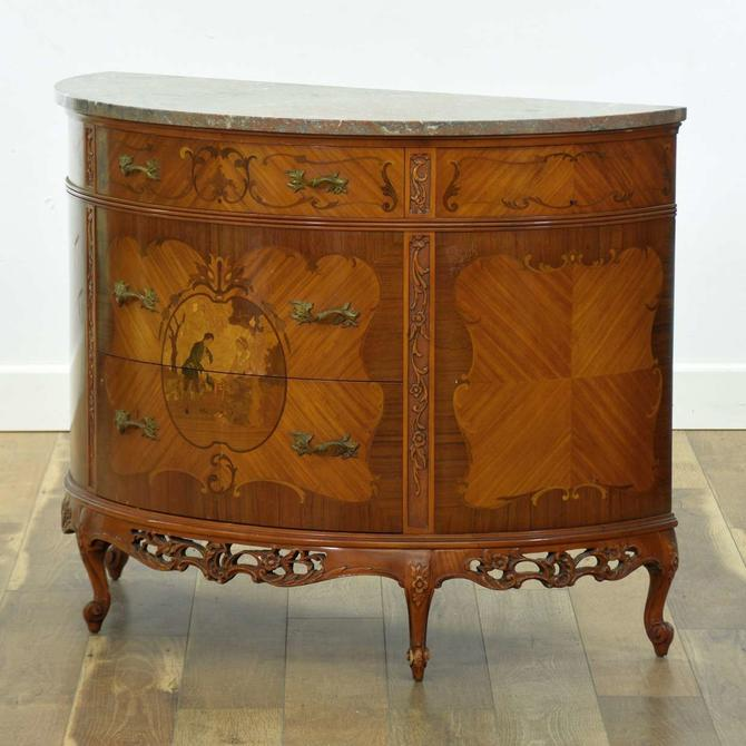 French Regency Demilune Buffet W Marquetry & Stone Top