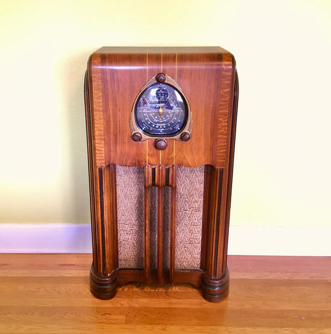 Stunning 1938 Zenith 6S254 Black Dial 3-Band Console Radio, Elec Restored: Pickup, Local Delivery or You-Ship Only by Deco2Go