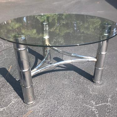 Vintage faux bamboo chrome coffee table with new glass top by HolbrookBazaar
