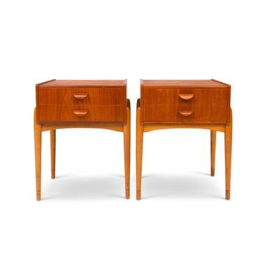 Vintage Danish Mid-Century Teak & Oak Nightstands/ Side Tables (Pair) by MCMSanFrancisco