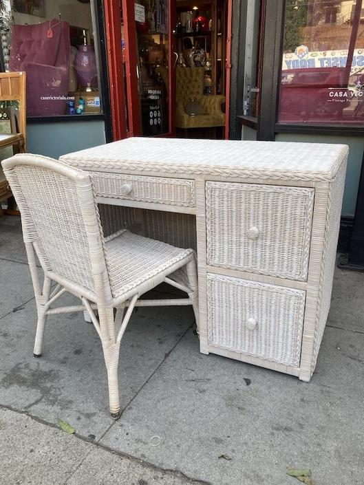 Home Office   Vintage Wicker Desk with Matching Chair