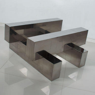 Paul Evans Cityscape Coffee Table Geometric Patchwork Base Stainless Steel 1970s by AMBIANIC